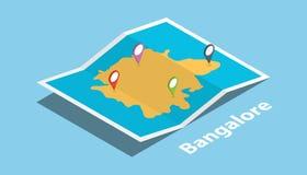 Bangalore explorent des cartes avec le style isométrique et goupillent l'étiquette d'emplacement sur le dessus illustration de vecteur