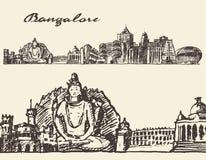 Bangalore gegraveerde illustratiehand getrokken schets Stock Afbeelding