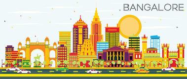 Bangalore horisont med färgbyggnader och blå himmel stock illustrationer