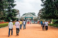 Lalbagh Botanical Garden and tourist people in Bangalore, India. Bangalore, India - January 1, 2018 : Lalbagh Botanical Garden and tourist people stock photography