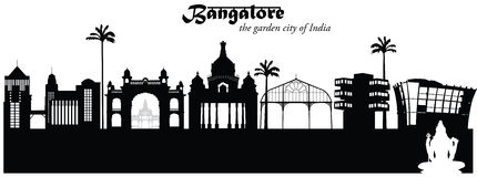 Bangalore, India. Vector illustration of the skyline cityscape of Bangalore, India stock illustration