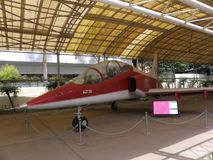 Bangalore Karnataka, Indien - Januari 1, 2009 flygplan för Hindustan stråle Trainer-36 IJT på HAL Aerospace Museum arkivfoto