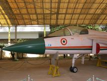 Bangalore Karnataka, Indien - Januari 1, 2009 ljus stridsflygplan på HAL Aerospace Museum royaltyfri bild