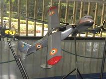 Bangalore Karnataka, Indien - Januari 1, 2009 modell av Krishak flygplan på HAL Aerospace Museum arkivfoto
