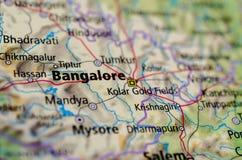 Bangalore lub Bengaluru na mapie obrazy stock