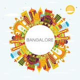 Bangalore Skyline with Color Buildings, Blue Sky and Copy Space. Vector Illustration. Business Travel and Tourism Concept with Historic Architecture Royalty Free Stock Images