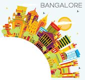 Bangalore Skyline with Color Buildings, Blue Sky and Copy Space. Stock Photos