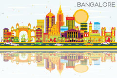 Bangalore Skyline with Color Buildings, Blue Sky and Reflections Stock Photos