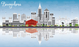 Bangalore Skyline with Gray Buildings, Blue Sky and Reflections. Royalty Free Stock Image