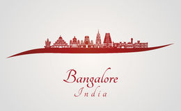 Bangalore skyline in red Royalty Free Stock Photo