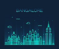 Bangalore skyline vector illustration linear Stock Photos