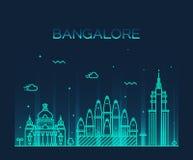 Bangalore skyline vector illustration linear Stock Photos