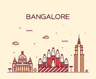 Bangalore skyline vector illustration linear Royalty Free Stock Photos