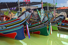 The Bangau Maritime Figureheads Colorful pattern of traditional fisherman boats in Kelantan, Malaysia Stock Image