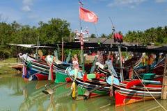 The Bangau Maritime Figureheads Colorful pattern of traditional fisherman boats in Kelantan, Malaysia Stock Images