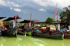 The Bangau Maritime Figureheads Colorful pattern of traditional fisherman boats in Kelantan, Malaysia Royalty Free Stock Photos
