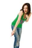 Bange mooie jonge vrouw die op wit wordt geïsoleerda Stock Foto