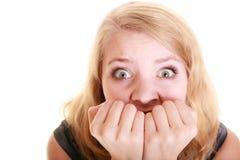 Bange onderneemster bang gemaakte vrouw Spanning in het werk Stock Afbeeldingen