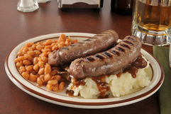 Bangers and mash with beer Stock Images