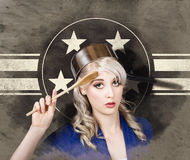 Bangers and MASH girl. Army pin up housewife Stock Images