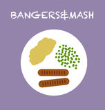 Bangers and mash. Illustration of a typical food, made with vectors Stock Photo