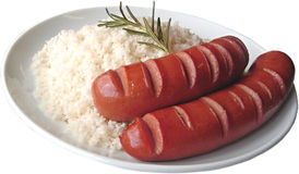 Bangers and rice Stock Image
