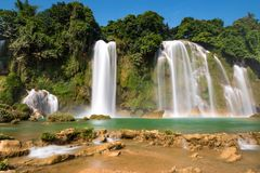 Bangioc瀑布在Caobang,越南 图库摄影
