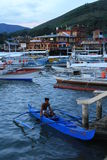Bangkas in Palawan. Bangkas are docked at the end of the day in Coron, Palawan. Bangkas are the local boats used to get from one island to another in the Stock Photos