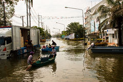 bangkok översvämning Arkivfoton