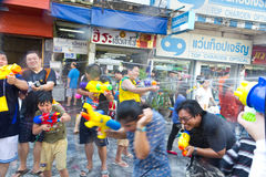 BANGKOK - 2012 APRIL 13: Songkran Festival. KHAO SAN ROAD, BANGKOK - 2012 APRIL 13: Water Battle in Khao San Road Royalty Free Stock Images