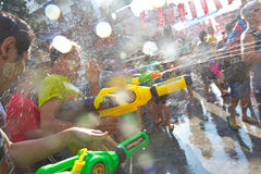 BANGKOK - 2012 APRIL 13: Songkran Festival. KHAO SAN ROAD, BANGKOK - 2012 APRIL 13: Shooting water gun royalty free stock photos