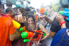 BANGKOK - 2012 APRIL 13: Songkran Festival. KHAO SAN ROAD, BANGKOK - 2012 APRIL 13: Battle of water gun 5 stock photos