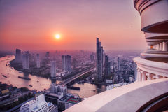 Bangkok from above at sunrise. Royalty Free Stock Images
