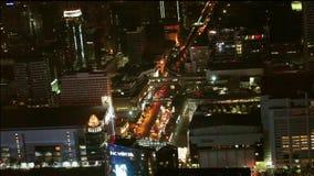 Bangkok above view at night, Thailand stock footage