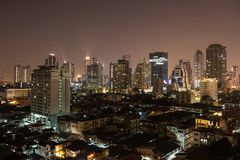 Bangkok aerial skyline view at night in Thailand. Bangkok aerial skyline view at night - Thailand Royalty Free Stock Photo