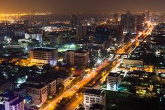 Bangkok aerial skyline view at night in Thailand. Bangkok aerial skyline view at night - Thailand Royalty Free Stock Photos