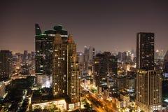 Bangkok aerial skyline view at night in Thailand. Bangkok aerial skyline view at night - Thailand Stock Image