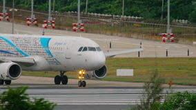 Bangkok Air Airbus 320 taxiing stock video footage