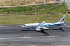 Bangkok air departed at phuket airport. Phuket, Thailand ; September 12,2558 airplane departed at phuket airport Stock Image
