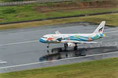 Bangkok airway  landing at Phuket Airport in rainny day Stock Images