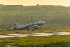 Bangkok airways aircraft take off in the morning Stock Photos