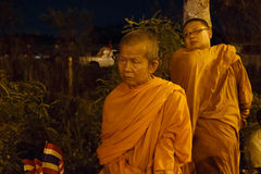 BANGKOK - APRIL 5 2014: Monks join the red shirts protest at sit stock images