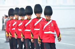 BANGKOK - APRIL 9: Soldiers in parade uniforms marching during the royal funeral of Her Royal Highness Princess Bejaratana on Apri Stock Photography