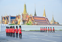 BANGKOK - APRIL 9: Soldiers in parade uniforms marching during the royal funeral of Her Royal Highness Princess Bejaratana on Apri Stock Image