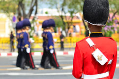 BANGKOK - APRIL 9: Soldiers in parade uniforms marching during the royal funeral of Her Royal Highness Princess Bejaratana on Apri Royalty Free Stock Photos