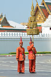 BANGKOK - APRIL 9: Soldiers in parade uniforms marching during the royal funeral of Her Royal Highness Princess Bejaratana on Apri Stock Images
