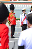 BANGKOK - APRIL 9: Soldiers in parade uniforms marching during the royal funeral of Her Royal Highness Princess Bejaratana on Apri Stock Photos