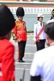 BANGKOK - APRIL 9: Soldiers in parade uniforms marching during the royal funeral of Her Royal Highness Princess Bejaratana on Apri Stock Photos