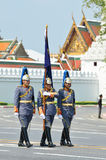 BANGKOK - APRIL 9: Soldiers in parade uniforms marching during the royal funeral of Her Royal Highness Princess Bejaratana on Apri Royalty Free Stock Images