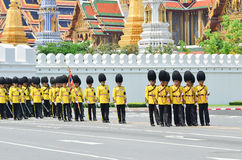 BANGKOK - APRIL 9: Soldiers in parade uniforms marching during the royal funeral of Her Royal Highness Princess Bejaratana on Apri Royalty Free Stock Photography